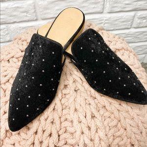 Mi.im Black Velvet Studded Mules Size 10